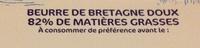 Beurre de Bretagne Doux (82 % MG) - Informations nutritionnelles