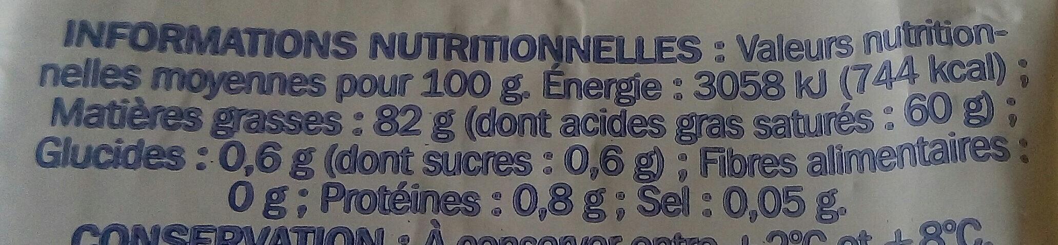 Beurre de bretagne doux - Nutrition facts - fr