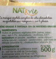 Matière grasse tartine et cuisson 70% - Ingrédients