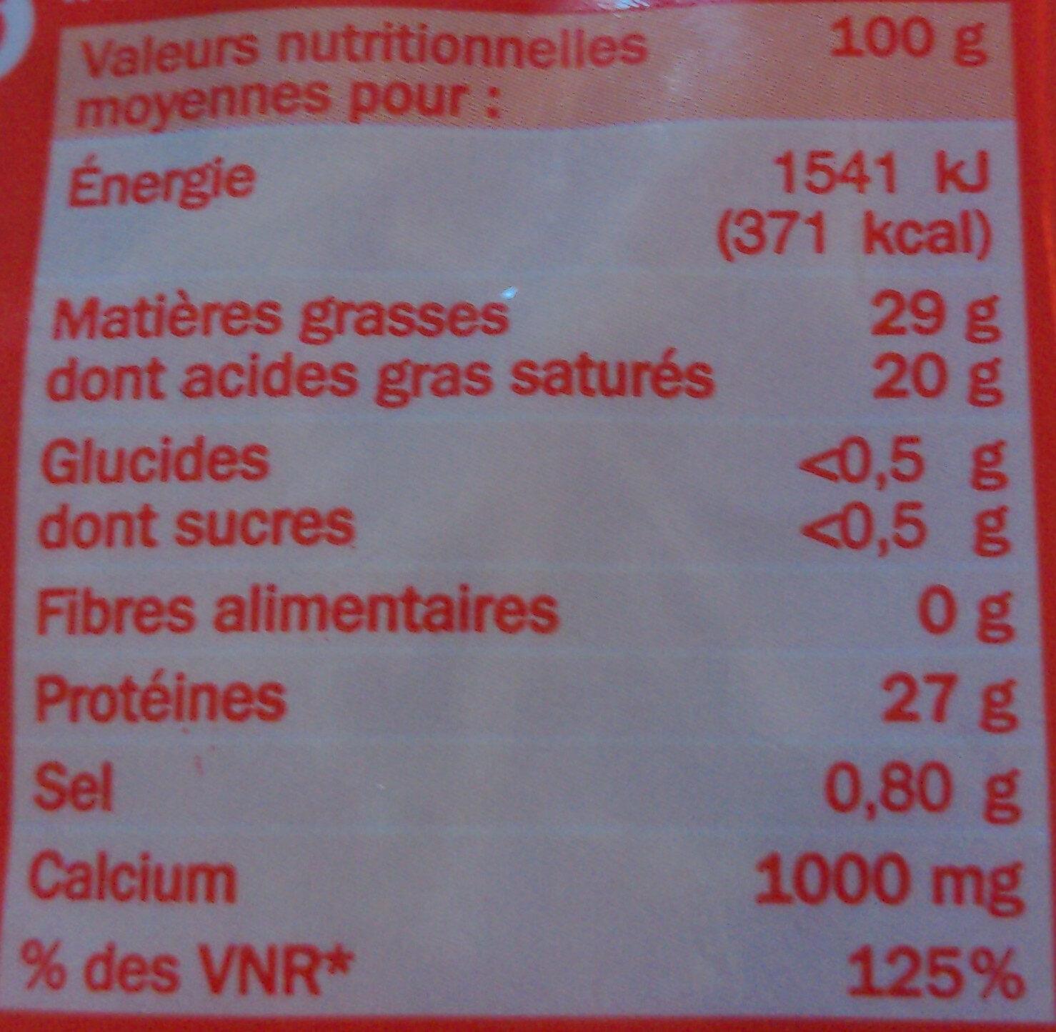 Emmental râpé 29% Mat. Gr. - Nutrition facts - fr