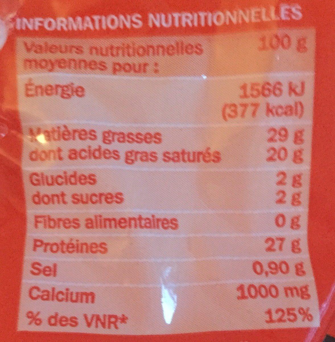 Emmental râpé 29% Mat. Gr. - Voedingswaarden