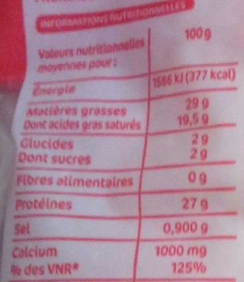 Emmental francais rape 29%mg - Nutrition facts