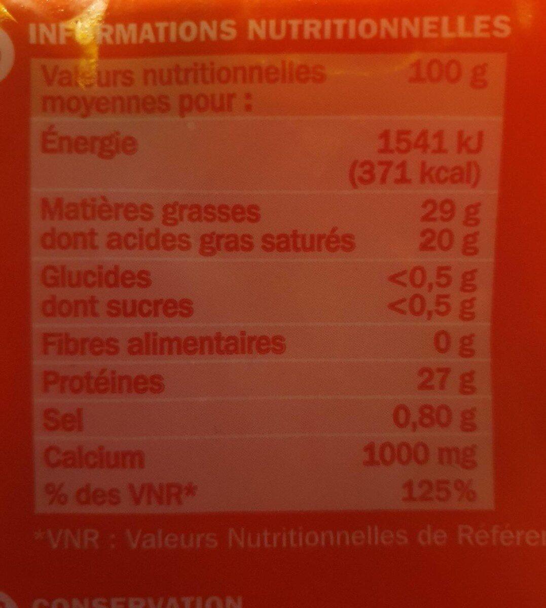 Emmental râpé 29% Mat. Gr. - Valori nutrizionali - fr