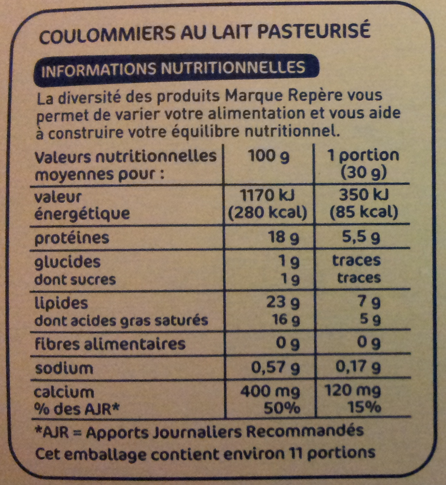Coulommiers 24% Mat. Gr. - Nutrition facts - fr