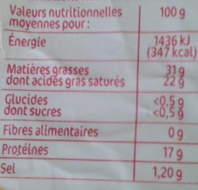 Pointe de brie 31%mg - Informations nutritionnelles - fr