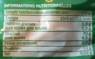 Torsades - Informations nutritionnelles