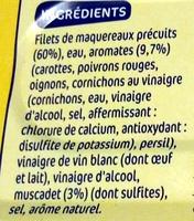 Filets maquereaux aromatisé muscadet - Ingredients - fr