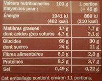 Muesli pépites croustillantes chocolat - Informations nutritionnelles