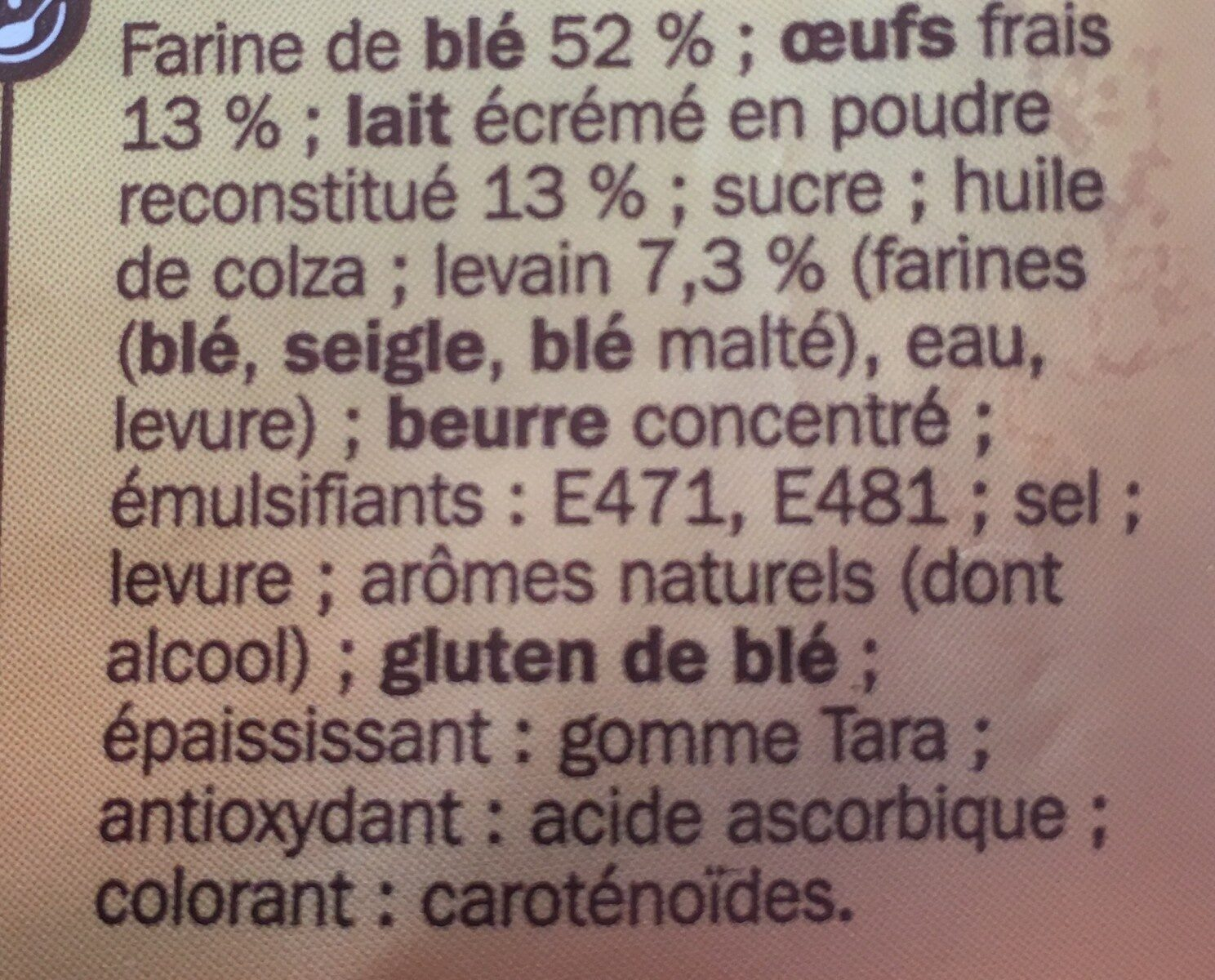 Pains au lait x10 - Ingredients