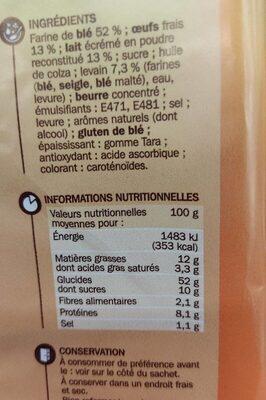 Pains au lait x10 - Informations nutritionnelles - fr