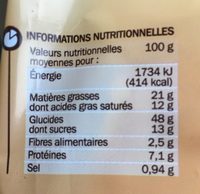 Pains au chocolat x 8 - Informations nutritionnelles