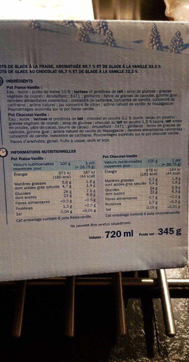 Pots vanille fraise chocolat x 12 - Ingredients - fr