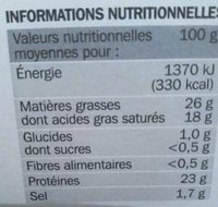Raclette nature 26%mg - Informations nutritionnelles - fr