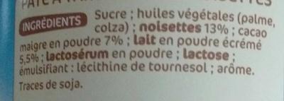 Nustikao - Pâte à tartiner aux noisettes - Ingredienti