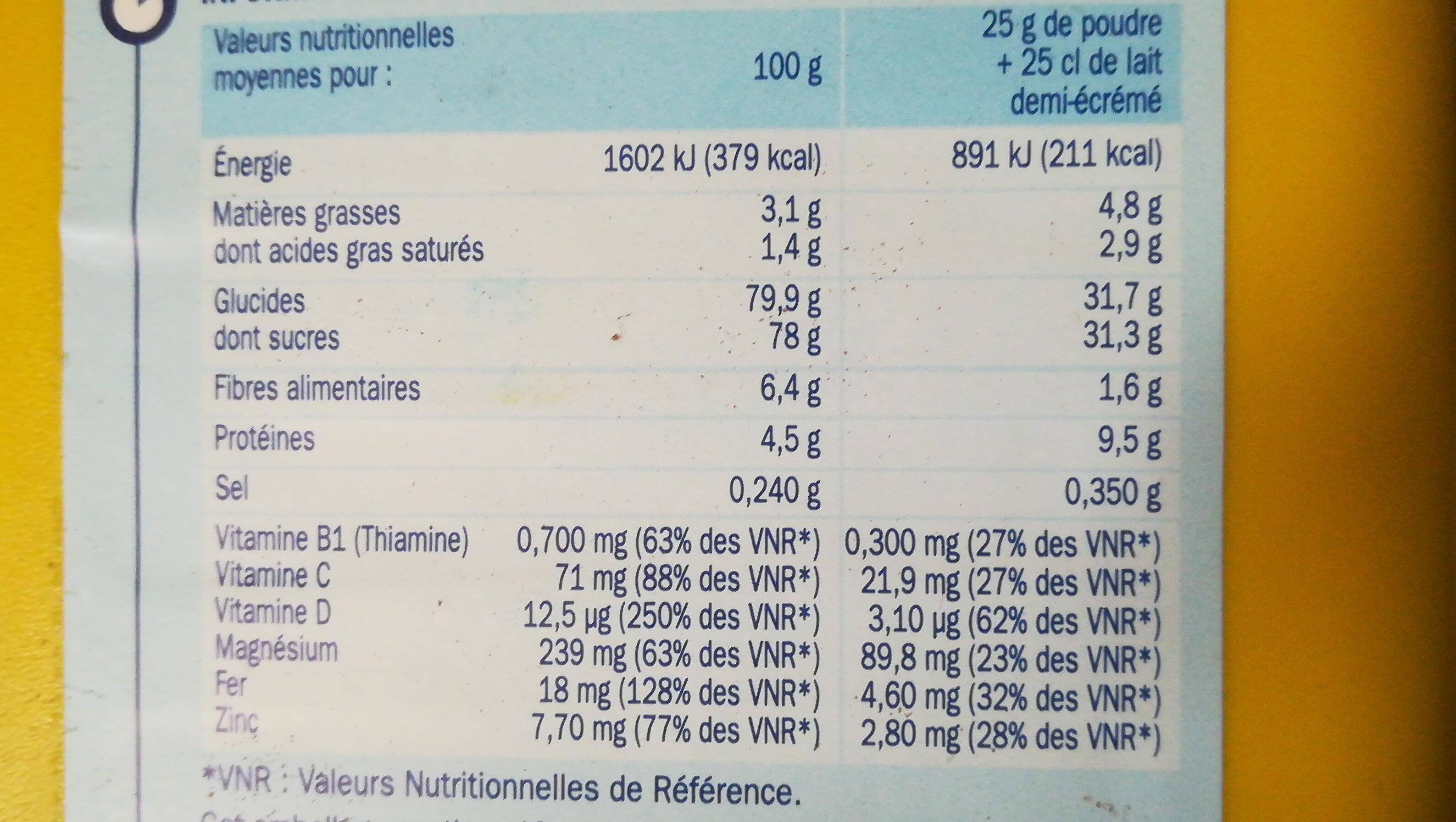 Préparation pour boisson instantanée - Informations nutritionnelles - fr