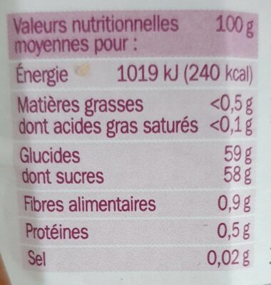 Confiture extra abricot - Voedingswaarden - fr
