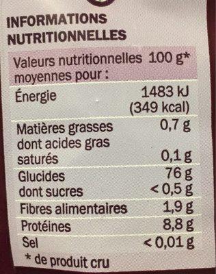Riz basmati - Nutrition facts
