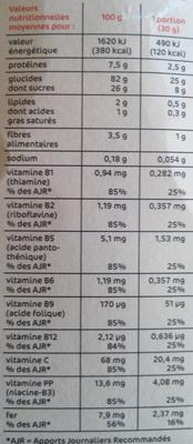 Boules céréales au chocolat - Informations nutritionnelles - fr