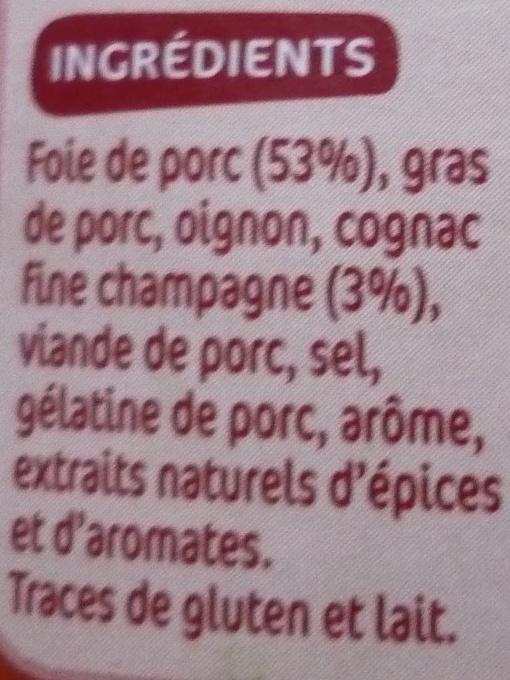 Confit de foie de porc fine champagne - Ingrediënten