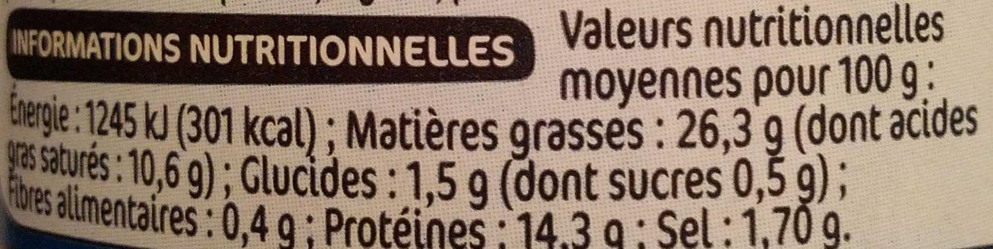 Terrine de canard au poivre vert - Informations nutritionnelles - fr