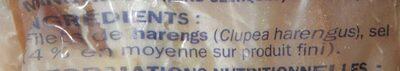 Filets de harengs fumés doux - Ingrédients - fr