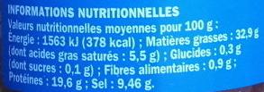 Filets anchois allongés à l'huile d'olive - pot en verre - Voedingswaarden - fr