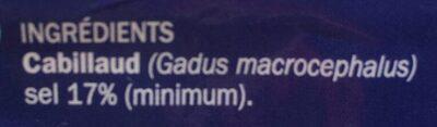 Filets de morue salés - Ingrédients