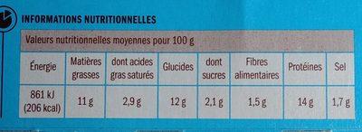 Cordon bleu x 2 - Nutrition facts