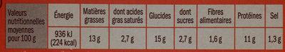 Nuggets de poulet x10 - Voedingswaarden - fr