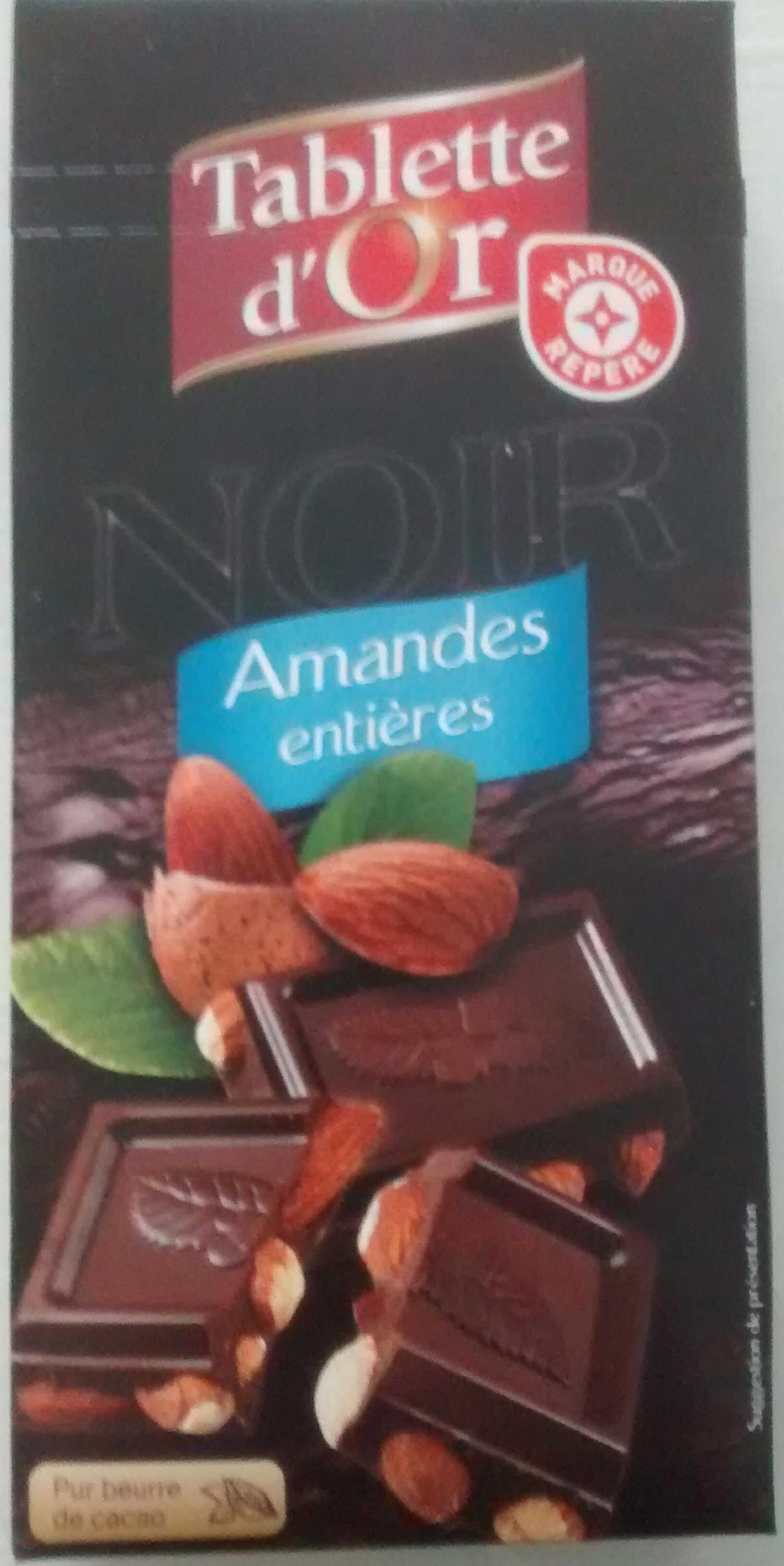 chocolat noir amandes enti res tablette d 39 or 200 g. Black Bedroom Furniture Sets. Home Design Ideas
