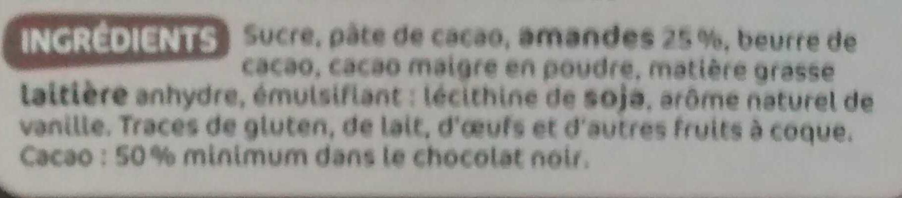 Chocolat noir amandes entieres - Ingrédients - fr