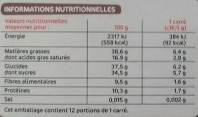 Chocolat noir amandes entieres - Informations nutritionnelles - fr