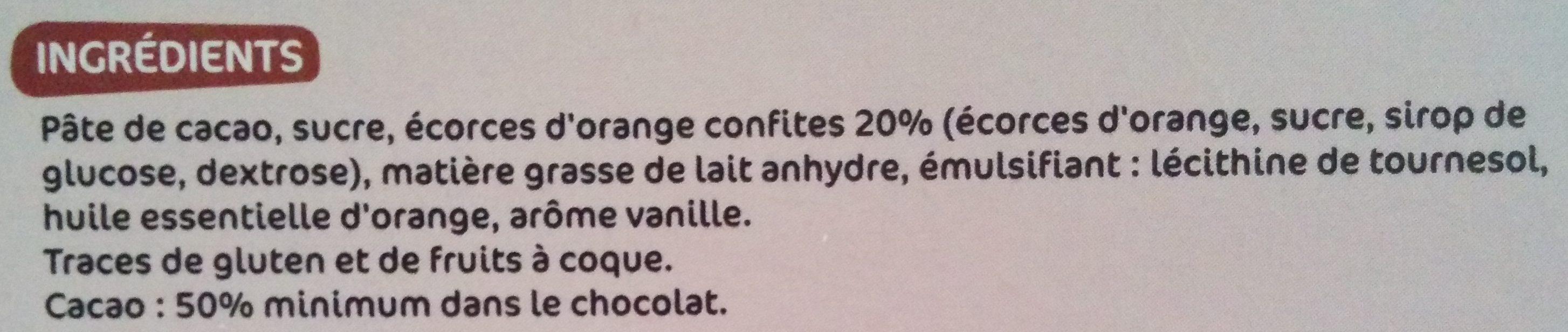 Chocolat noir écorces d'orange - Ingrediënten - fr