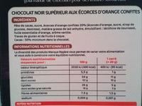 Chocolat noir écorces d'orange - Voedingswaarden - fr