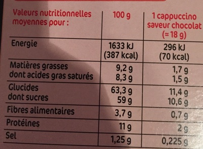 Cappuccino chocolat 8 sachets - Informations nutritionnelles - fr
