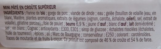 Mini pâté en croûte supérieur - Ingrediënten - fr