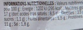 Mini pâté en croûte supérieur - Informations nutritionnelles