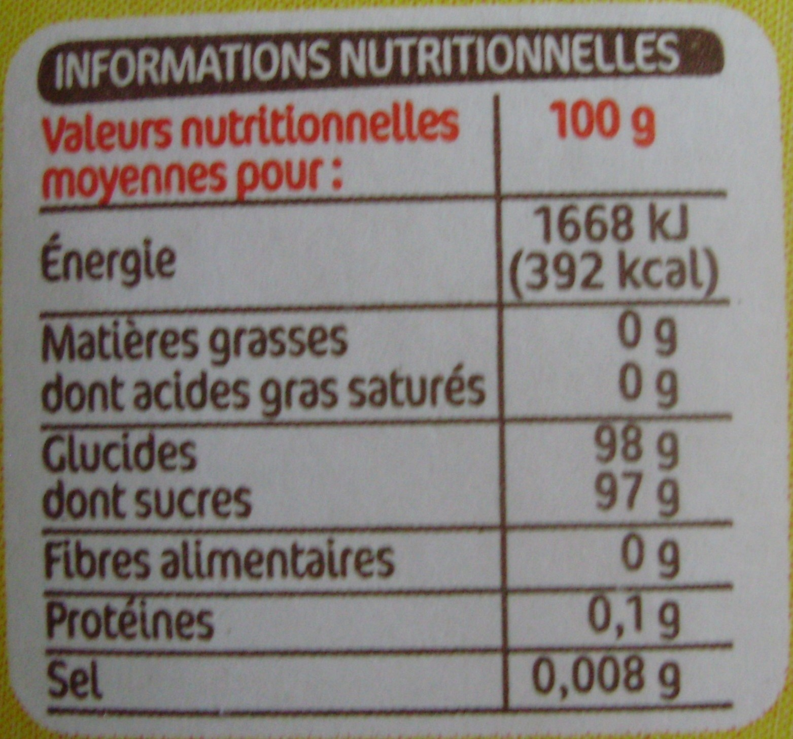 Sucre vanille - Nutrition facts - fr