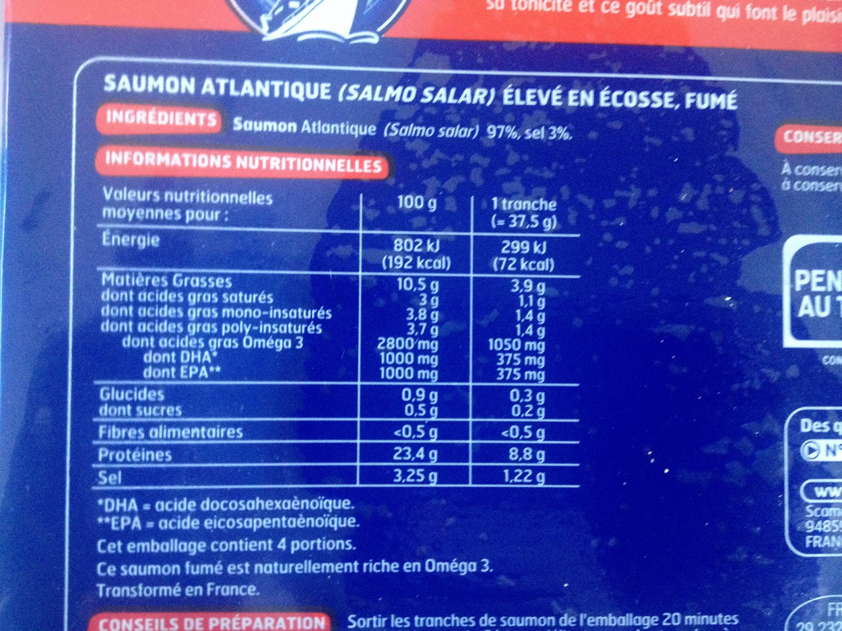 Saumon d'Ecosse 4 tranches - Ingrediënten