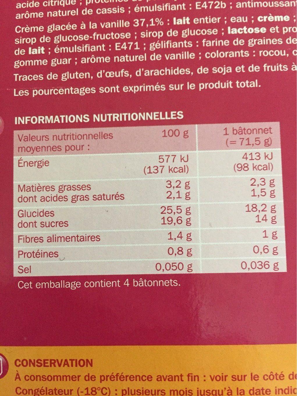 Trofi'fruit fruits rouges x 4 - Nutrition facts