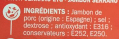 Jambon serrano 6t - Ingredients