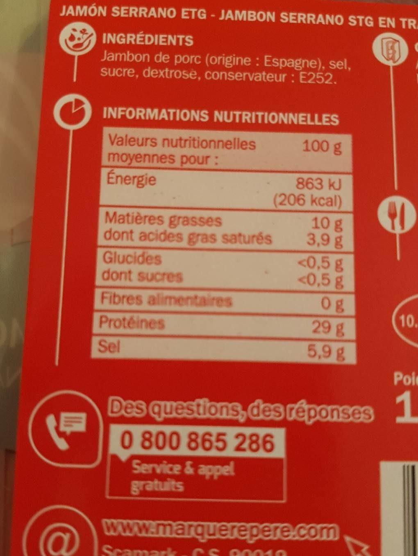Jambon serrano 6t - Nutrition facts