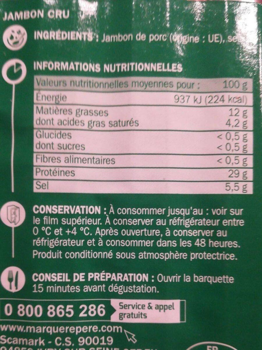 Jambon cru italien 6 tranches - Informations nutritionnelles - fr