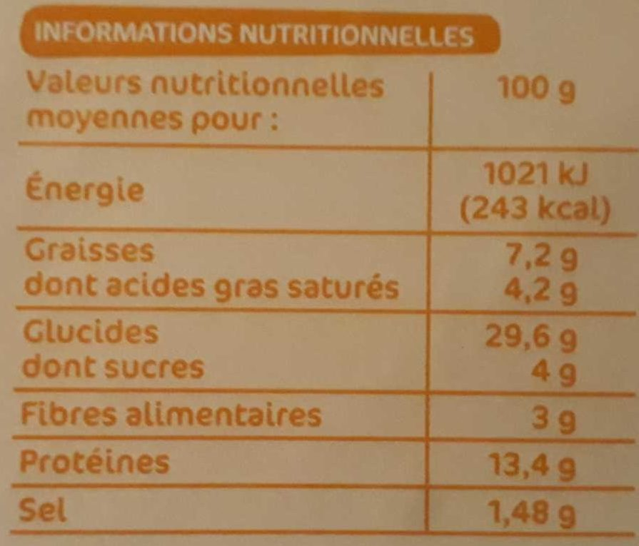 Pizza 4 Fromages - Nutrition facts