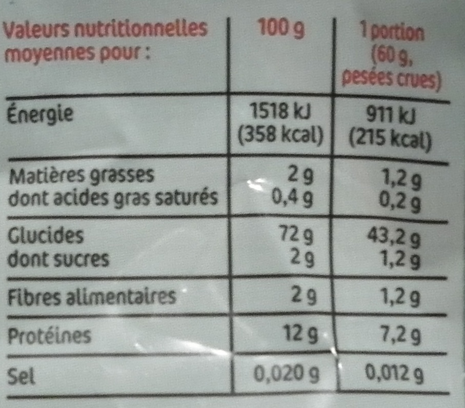 Turini Farfalle - Informations nutritionnelles - fr