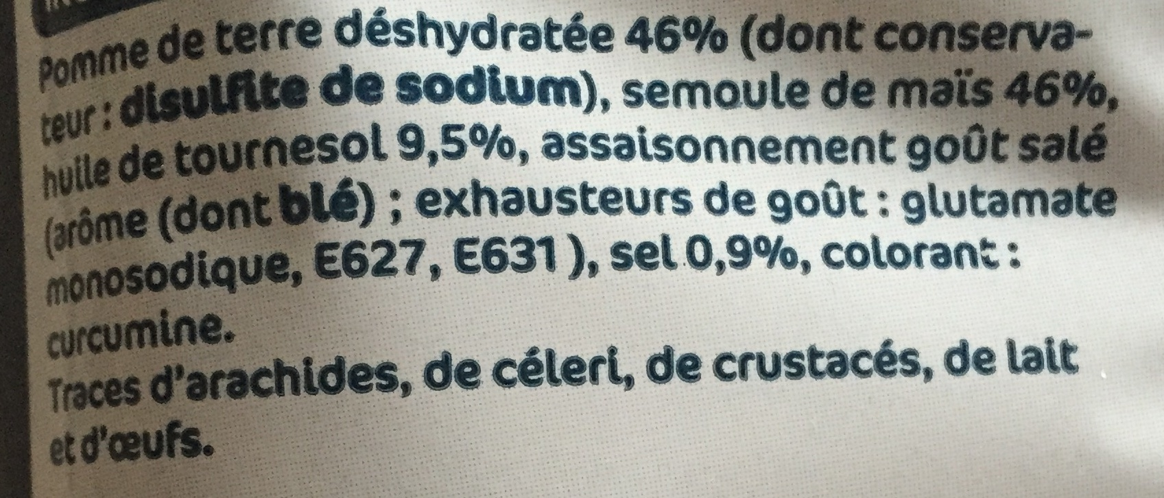 Frites goût salé - Ingrédients - fr