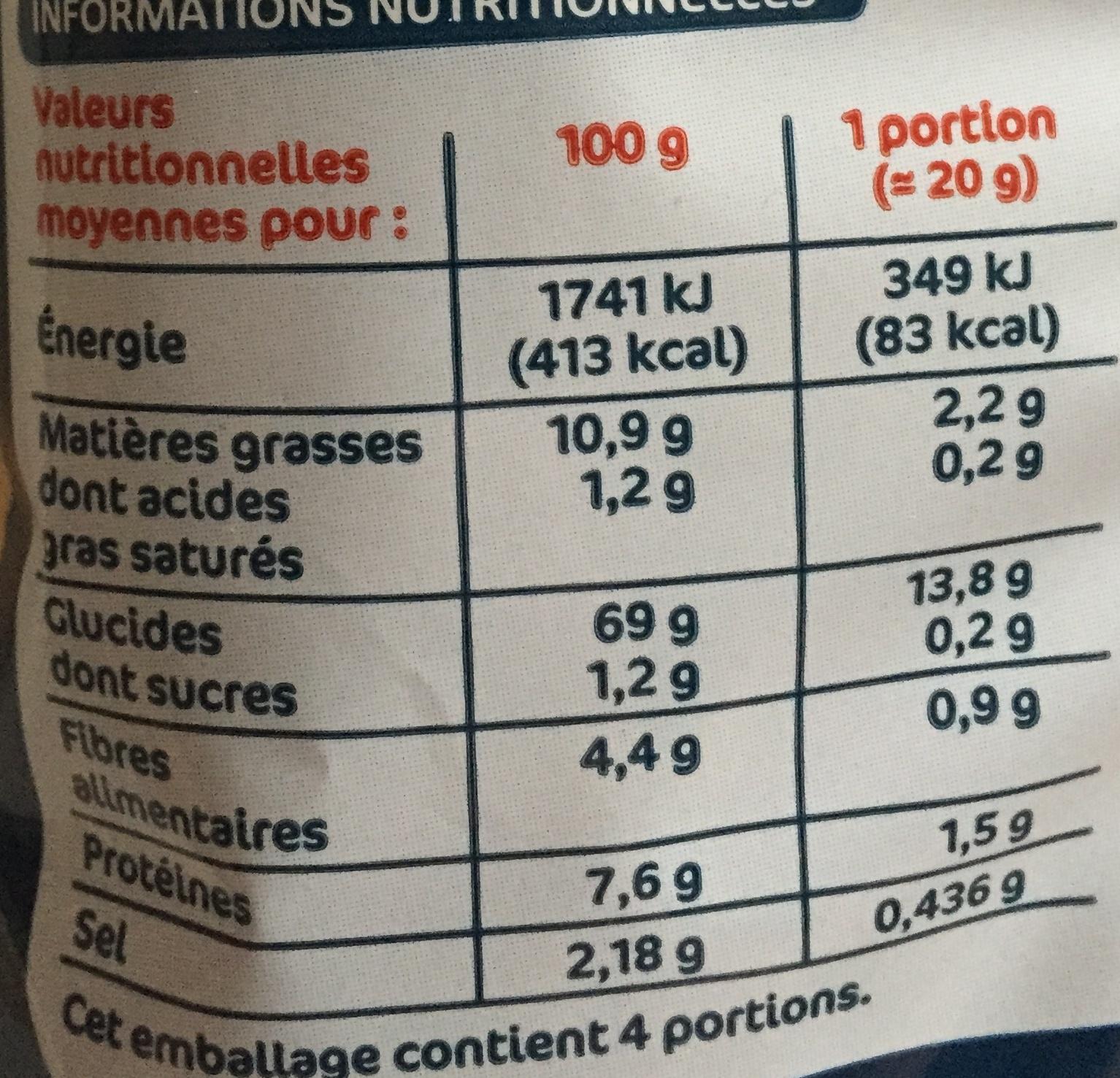 Frites goût salé - Informations nutritionnelles - fr