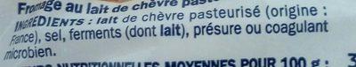 Bûche de chèvre 25% mg - Ingrédients - fr