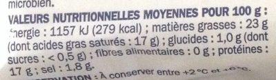 Bûche de chèvre 25% mg - Informations nutritionnelles - fr