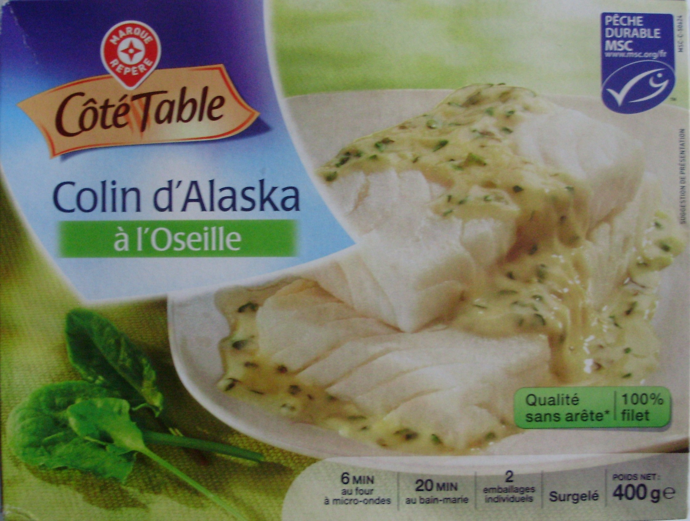 Colin d 39 alaska l 39 oseille surgel c t table 400 g - Cuisiner du colin surgele ...